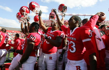 PISCATAWAY, NJ - OCTOBER 18:  The Rutgers Scarlet Knights celebrate after defeating the Connecticut Huskies at Rutgers Stadium on October 18, 2008 in Piscataway, New Jersey. Rutgers defeated Connecticut 12-10.  (Photo by Jim McIsaac/Getty Images)