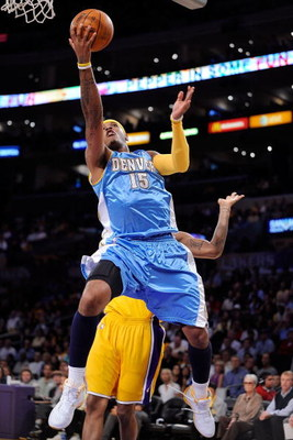 LOS ANGELES, CA - MAY 21:  Carmelo Anthony #15 of the Denver Nuggets lays the ball up while taking on the Los Angeles Lakers in Game Two of the Western Conference Finals during the 2009 NBA Playoffs at Staples Center on May 21, 2009 in Los Angeles, Califo