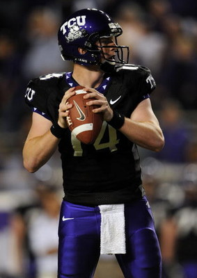 FORT WORTH, TX - OCTOBER 16:  Quarterback Andy Dalton #14 of the TCU Horned Frogs drops back to pass against the BYU Cougars in the first quarter at Amon G. Carter Stadium on October 16, 2008 in Fort Worth, Texas.  (Photo by Ronald Martinez/Getty Images)