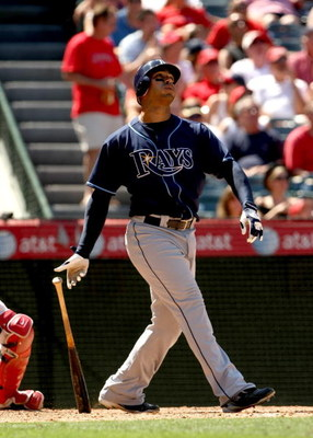 ANAHEIM, CA - AUGUST 12:  Carlos Pena  #23 of the Tampa Bay Rays bats against the Los Angeles Angels of Anaheim on August 12, 2009 at Angel Stadium in Anaheim, California.  The Angels won 10-5.  (Photo by Stephen Dunn/Getty Images)