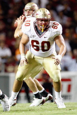 RALEIGH, NC - OCTOBER 16:  Ryan McMahon #60 of the Florida State Seminoles blocks during the game against the North Carolina State Wolfpack at Carter-Finley Stadium on October 16, 2008 in Raleigh, North Carolina.  (Photo by Kevin C. Cox/Getty Images)