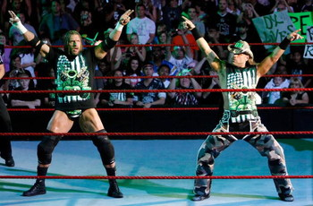 LAS VEGAS - AUGUST 24:  Wrestlers and tag team partners Triple H (L) and Shawn Michaels pose during the WWE Monday Night Raw show at the Thomas & Mack Center August 24, 2009 in Las Vegas, Nevada.  (Photo by Ethan Miller/Getty Images)