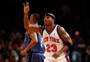 NEW YORK - NOVEMBER 22:  Quentin Richardson #23 of the New York Knicks celebrates a first half three pointer against the Washington Wizards  on November 22, 2008 at Madison Square Garden in New York City. NOTE TO USER: User expressly acknowledges and agre