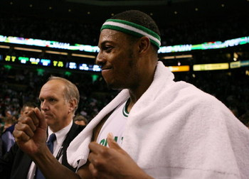BOSTON - MAY 12:  Paul Pierce #34 of the Boston Celtics celebrates the win over the Orlando Magic in Game Five of the Eastern Conference Semifinals during the 2009 NBA Playoffs at TD Banknorth Garden May 12, 2009 in Boston, Massachusetts. The Celtics defe