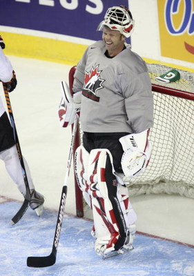 CALGARY, AB - AUGUST 24: A jovial goaltender Martin Brodeau during the second practice of the Team Canada Olympic Orientation Camp on August 24, 2009 at the Pengrowth Saddledome in Calgary, Alberta, Canada. (Photo by Mike Ridewood/Getty Images)