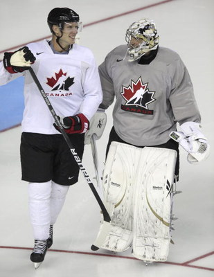 CALGARY, AB - AUGUST 24: Goaltender Marc-Andre Fleury talks with Jordan Staal during the second practice of the Team Canada Olympic Orientation Camp on August 24, 2009 at the Pengrowth Saddledome in Calgary, Alberta, Canada. (Photo by Mike Ridewood/Getty