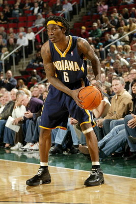 SEATTLE - DECEMBER 1:  Marquis Daniels #6 of the Indiana Pacers controls the ball against the Seattle Sonics on December 1, 2006 at Key Arena in Seattle, Washington. The Sonics won 105-103. NOTE TO USER: User expressly acknowledges and agrees that, by dow
