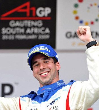 KYALAMI, SOUTH AFRICA - FEBRUARY 22: Winner Neel Jani (SUI) icelebrates after the A1 GP Feature Race held at Kyalami race track on February 22, 2009 in Gauteng, South Africa. (Photo by Duif du Toit/Gallo Images/Getty Images)