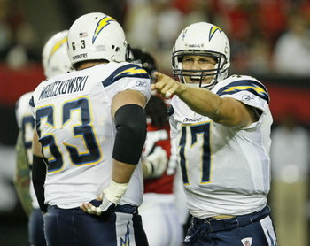 ATLANTA - AUGUST 29:  Quarterback Philip Rivers #17 of the San Diego Chargers argues an intentional grounding call during the game against the Atlanta Falcons at the Georgia Dome on August 29, 2009 in Atlanta, Georgia.  The Falcons beat the Chargers 27-24
