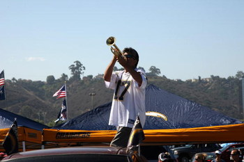SAN DIEGO - SEPTEMBER 07:  A Chargers fan blows his trumpet in the parking lot before the game  between the Carolina Panthers the San Diego Chargers on September 7, 2008 at Qualcomm Stadium in San Diego, California.  The Panthers won 26-24.  (Photo by Ste