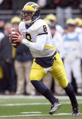 COLUMBUS, OH - NOVEMBER 22: Quarterback Nick Sheridan #8 of the Michigan Wolverines moves to pass the ball during the Big Ten Conference game against the Ohio State Buckeyes at Ohio Stadium on November 22, 2008 in Columbus, Ohio.  (Photo by Andy Lyons/Get