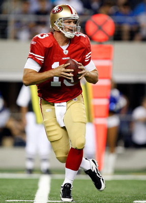 ARLINGTON, TX - AUGUST 29:  Quarterback Shaun Hill #13 of the San Francisco 49ers at Cowboys Stadium on August 29, 2009 in Arlington, Texas.  (Photo by Ronald Martinez/Getty Images)
