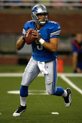 DETROIT, MI - AUGUST 28: Quarterback Matthew Stafford #9 of the Detroit Lions drops back to pass the football against the Indianapolis Colts at Ford Field on August 28, 2009 in Detroit, Michigan.  (Photo by Scott Boehm/Getty Images)