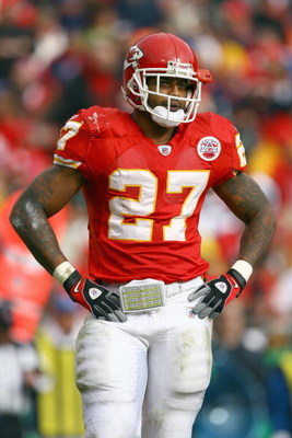 KANSAS CITY, MO - NOVEMBER 23: Larry Johnson #27 of the Kansas City Chiefs stands on the field during the game against the Buffalo Bills on November 23, 2008 at Arrowhead Stadium in Kansas City, Missouri. (Photo by Jamie Squire/Getty Images)