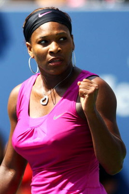 NEW YORK - SEPTEMBER 06:  Serena Williams celebrates after defeating Daniela Hantuchova of Slovakia during day seven of the 2009 U.S. Open at the USTA Billie Jean King National Tennis Center on September 6, 2009 in the Flushing neighborhood of the Queens