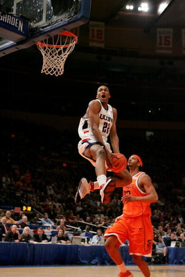 NEW YORK - MARCH 11:  Rudy Gay #22 of the Connecticut Huskies dunks against the Syracuse Orangemen during the semifinal round of the Big East Men's Basketball Championship on March 11, 2005 at Madison Square Garden in New York City.  (Photo by Jim McIsaac