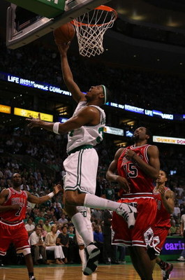 BOSTON - MAY 02:  Paul Pierce #34 of the Boston Celtics drives past John Salmons #15 of the Chicago Bulls in Game Seven of the Eastern Conference Quarterfinals during the 2009 NBA Playoffs at TD Banknorth Garden on May 2, 2009 in Boston, Massachusetts. NO