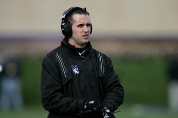EVANSTON, IL - NOVEMBER 11:  Head coach Pat Fitzgerald of the Northwestern University Wildcats watches the game against the Ohio State University Buckeyes on November 11, 2006 at Ryan Field at Northwestern University in Evanston, Illinois. The Buckeyes wo