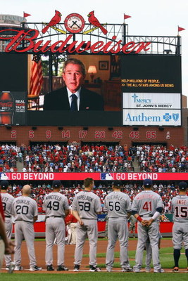 ST. LOUIS, MO - JULY 14:  General view as American League All-Stars watch former President George W. Bush speak on the video board before the 2009 MLB All-Star Game at Busch Stadium on July 14, 2009 in St Louis, Missouri. (Photo by Jamie Squire/Getty Imag