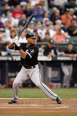 SEATTLE - AUGUST 12:  Alex Rios #51 of the Chicago White Sox bats during the game against the Seattle Mariners on August 12, 2009 at Safeco Field in Seattle, Washington. (Photo by Otto Greule Jr/Getty Images)