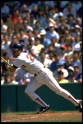 BOSTON RED SOX THIRD BASEMAN WADE BOGGS MAKES CONTACT WITH A PITCH DURING THE RED SOX GAME AT FENWAY PARK IN BOSTON, MASSACHUSETTS. MANDATORY CREDIT: RICK STEWART/ALLSPOR