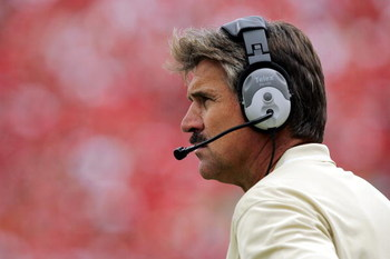 LINCOLN, NE - SEPTEMBER 17:  Head coach Dave Wannstedt of the Pittsburgh Panthers watches from the sideline during a game against the Nebraska Cornhuskers in the third quarter on September 17, 2005 at Memorial Stadium in Lincoln, Nebraska. Nebraska won 7-