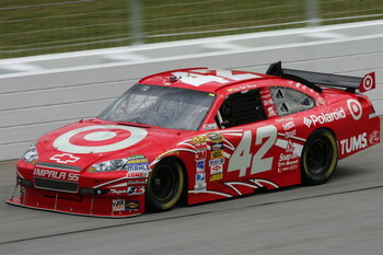 HAMPTON, GA - SEPTEMBER 05:  Juan Pablo Montoya, driver of the #42 Target Chevrolet, practices for the NASCAR Sprint Cup Series Pep Boys Auto 500 at Atlanta Motor Speedway on September 5, 2009 in Hampton, Georgia.  (Photo by Todd Warshaw/Getty Images)