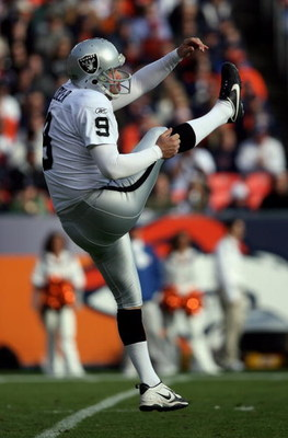 DENVER - NOVEMBER 23:  Punter Shane Lechler #9 of the Oakland Raiders punts the ball to the Denver Broncos during week 12 NFL action at Invesco Field at Mile High on November 23, 2008 in Denver, Colorado. The Raiders defeated the Broncos 31-10.  (Photo by
