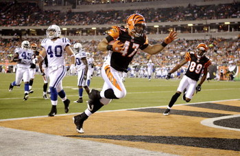 CINCINNATI, OH - AUGUST 3:  Kolo Kapanui #47 of the Cincinnati Bengals scores a touchdown during the preseason game against the Indianapolis Colts on August 3, 2009 at Paul Brown Stadium in Cincinnati, Ohio.  (Photo by Andy Lyons/Getty Images)
