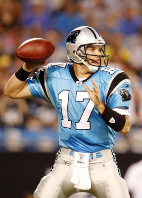 CHARLOTTE, NC - AUGUST 29: Quarterback Jake Delhomme #17 of the Carolina Panthers drops back to pass against the Baltimore Ravens at Bank of America Stadium on August 29, 2009 in Charlotte, North Carolina. (Photo by Streeter Lecka/Getty Images)