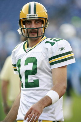 NASHVILLE, TN - SEPTEMBER 3: Aaron Rodgers #12 of the Green Bay Packers looks on against the Tennessee Titans during a preseason NFL game at LP Field on September 3, 2009 in Nashville, Tennessee. The Titans beat the Packers 27-13. (Photo by Joe Murphy/Get
