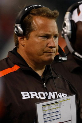 CHICAGO, IL - SEPTEMBER 3: Head coach Eric Mangini of the Cleveland Browns watches the action from the sidelines against  the Chicago Bears at Soldier Field on September 3, 2009 in Chicago, Illinois. (Photo by Scott Boehm/Getty Images)