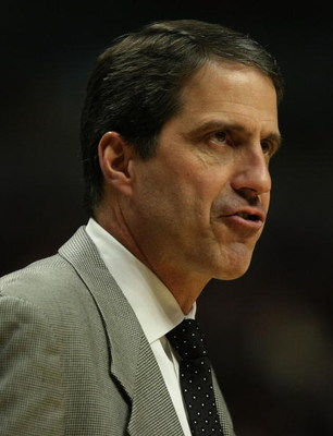 CHICAGO - JANUARY 29:  Head coach Randy Wittman of the Minnesota Timberwolves talks to his team during a game against the Chicago Bulls on January 29, 2008 at the United Center in Chicago, Illinois. NOTE TO USER: User expressly acknowledges and agreees th