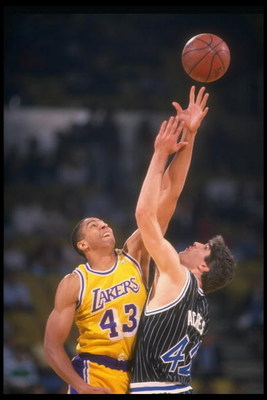 1989-1990:  Mychal Thompson of the Los Angeles Lakers goes up for the ball during a game. Mandatory Credit: Ken Levine  /Allsport Mandatory Credit: Ken Levine  /Allsport