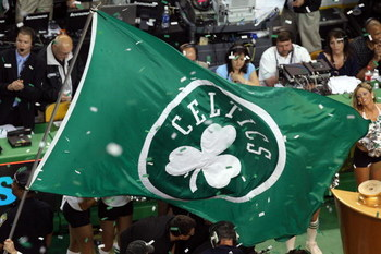 BOSTON - JUNE 17:  A Boston Celtics flag is on the court after the Celtics defeated the Los Angeles Lakers in Game Six of the 2008 NBA Finals on June 17, 2008 at TD Banknorth Garden in Boston, Massachusetts. NOTE TO USER: User expressly acknowledges and a