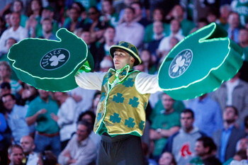 BOSTON - MAY 20:  The Boston Celtics mascots 'Lucky' performs before taking on the Detroit Pistons during Game One of the 2008 NBA Eastern Conference finals at the TD Banknorth Garden on May 20, 2008 in Boston, Massachusetts. NOTE TO USER: User expressly