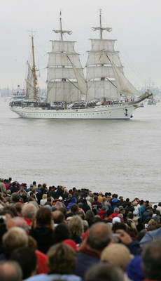 BREMERHAVEN, GERMANY - AUGUST 14:  The German training ship 'Gorch Fock' sails during the Parade on August 14, 2005 in Bremerhaven, Germany. The Sailing event in Bremerhaven is the greatest festival of square-riggers in Europe. More than 200 windjammers a