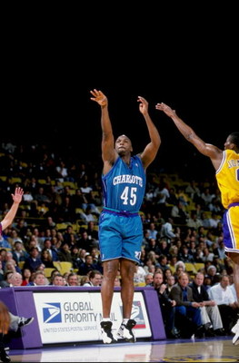 16 Feb 1999: Chuck Person #45 of the Charlotte Hornets makes a jump shot during the game against the Los Angeles Lakers at the Great Western Forum in Inglewood, California. The Lakers defeated the Hornets 116-88.  Mandatory Credit: Vincent Laforet  /Allsp