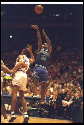 Guard Isaiah Rider of the Minnesota Timberwolves shoots the ball during a game against the New York Knicks at Madison Square Garden in New York City, New York.