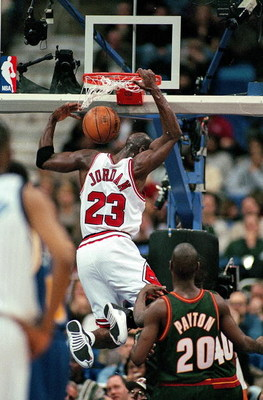 9 Feb 1997:  Michael Jordan #23 of the East dunks the ball during the NBA All-Stars Game against the West at the Gund Arena in Cleveland, Ohio. The East defeated the West 132-120.   Mandatory Credit: Brian Bahr  /Allsport