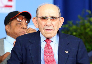 COOPERSTOWN, NY - JULY 26:  Baseball icon Yogi Berra looks on at Clark Sports Center during the 2009  Baseball Hall of Fame induction ceremony on July 26, 2009 in Cooperstown, New York.  (Photo by Jim McIsaac/Getty Images)