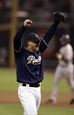 SAN DIEGO - SEPTEMBER 28:  Closer Trevor Hoffman #51 of the Padres celebrates the final out of the 9th inning against the San Francisco Giants as the Padres clinch the National League West with a 9-1 win on September 28, 2005 at Petco Park in San Diego, C