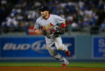 LOS ANGELES, CA - AUGUST 17:  Skip Schumaker #55 of the St. Louis Cardinals plays against the Los Angeles Dodgers at Dodger Stadium on August 17, 2009 in Los Angeles, California.  (Photo by Jeff Gross/Getty Images)