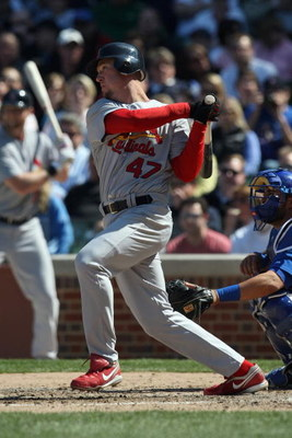 CHICAGO - APRIL 17:  Ryan Ludwick #47 of the St. Louis Cardinals bats against the Chicago Cubs on April 17, 2009 at Wrigley Field in Chicago, Illinois. (Photo by Jonathan Daniel/Getty Images)