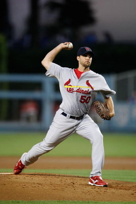 LOS ANGELES, CA - AUGUST 19:  Adam Wainwright #50 of the St. Louis Cardinals pitches against the Los Angeles Dodgers at Dodger Stadium on August 19, 2009 in Los Angeles, California.  (Photo by Jeff Gross/Getty Images)