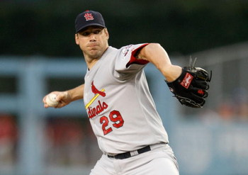 LOS ANGELES, CA - AUGUST 17:  Chris Carpenter #29 of the St. Louis Cardinals pitches against the Los Angeles Dodgers in the second inning at Dodger Stadium on August 17, 2009 in Los Angeles, California. (Photo by Jeff Gross/Getty Images)