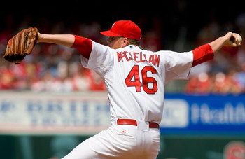 ST. LOUIS, MO - APRIL 30: Relief pitcher Kyle McClellan #46 of the St. Louis Cardinals throws against the Cincinnati Reds on April 30, 2008 at Busch Stadium in St. Louis, Missouri.  The Cardinals beat the Reds 5-2. (Photo by Dilip Vishwanat/Getty Images)