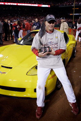ST LOUIS, MO - OCTOBER 27:  David Eckstein #22 of the St. Louis Cardinals holds the World Series MVP trophy after defeating the Detroit Tigers in Game Five of the 2006 World Series on October 27, 2006 at Busch Stadium in St. Louis, Missouri.  The Cardinal