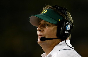 EUGENE, OR - SEPTEMBER 12:  Head Coach Chip Kelly of the Oregon Ducks looks on during the game against the Purdue Boilermakers  at Autzen Stadium on September 12, 2009 in Eugene, Oregon.  (Photo by Jonathan Ferrey/Getty Images)