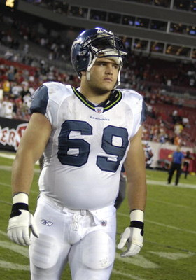 TAMPA, FL - OCTOBER 19: Guard Steve Vallos #69 of the Seattle Seahawks plays against the Tampa Bay Buccaneers after play at Raymond James Stadium on October 19, 2008 in Tampa, Florida.  (Photo by Al Messerschmidt/Getty Images)